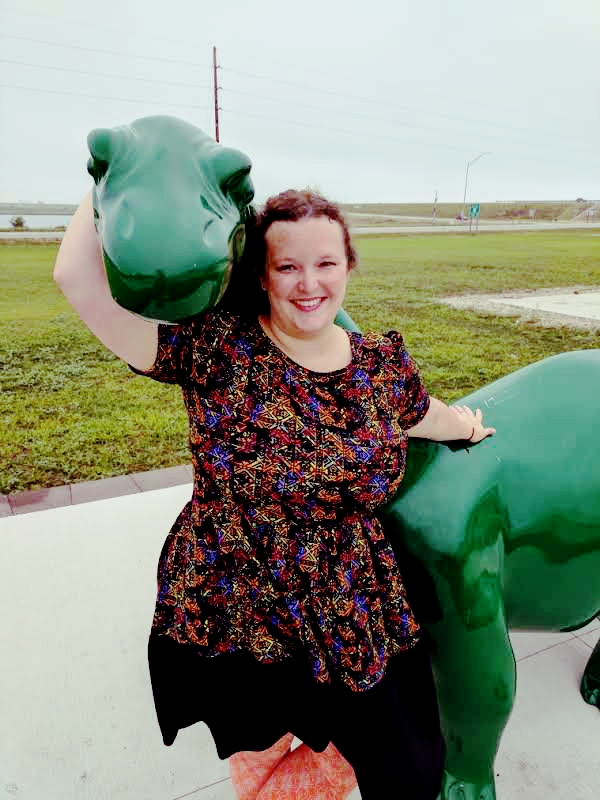 Bethany with green dinosaur