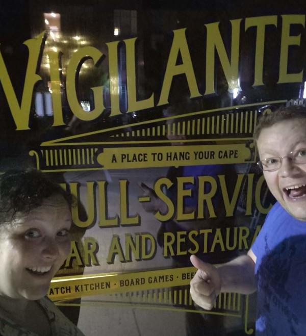 Here we are at Vigilante Bar in Austin, Texas!